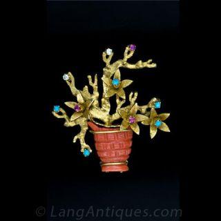Shreve & Co. Coral Flower Basket Pin - 1