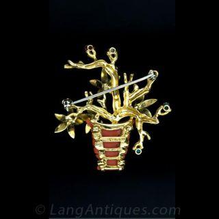 Shreve & Co. Coral Flower Basket Pin