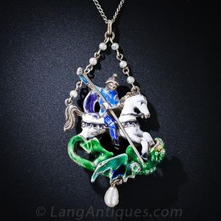 Silver and Enamel St. George Necklace