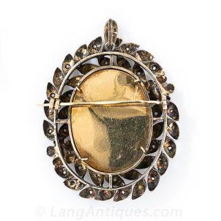 Silver Enamel Pearl and Diamond Wreath Brooch