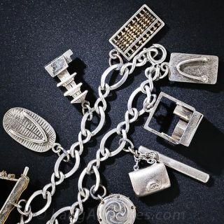 Silver Japanese Vintage Charm Bracelet