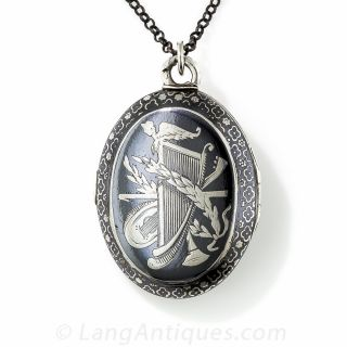 Silver Nielo Double-Sided Oval Locket