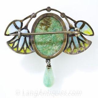 Silver Plique-a-Jour Egyptian Revival Scarab Brooch