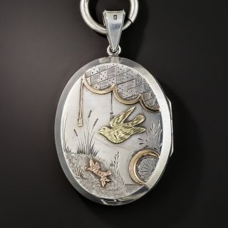 Silver Victorian Book Chain and Locket