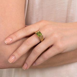 Sleek 2.30 Carat Princess Cut Peridot Ring