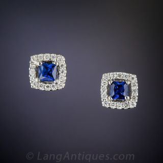 Small 18K White Gold Sapphire and Diamond Stud Earrings