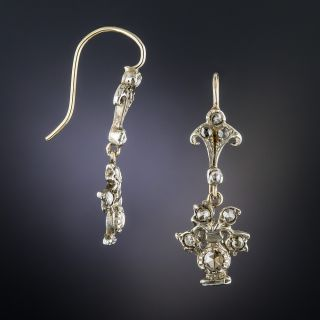 Small Antique Silver and Rose-Cut Diamond Drop Earrings