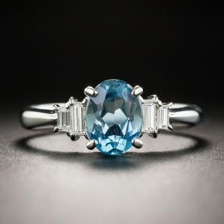 Small Aquamarine Diamond Platinum Ring - 1