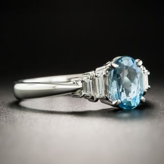 Small Aquamarine Diamond Platinum Ring
