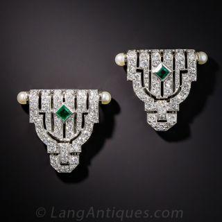 Small Art Deco Diamond and Emerald Dress Clips - 1