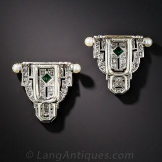 Small Art Deco Diamond and Emerald Dress Clips