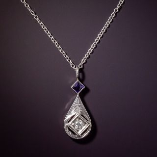 Small Art Deco Diamond and Sapphire Drop by Belais - 0