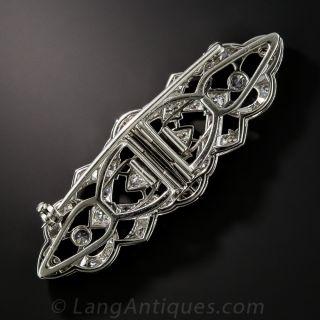 Small Art Deco Diamond Double Clip Brooch