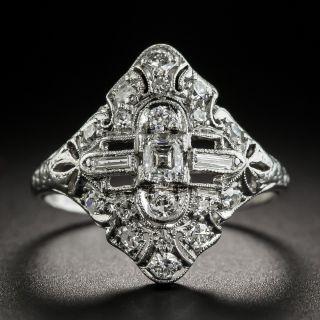 Small Art Deco Platinum Diamond Dinner Ring - 1