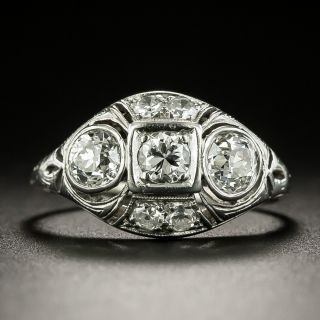 Art Deco Three-Stone Diamond Engagement Ring - 2