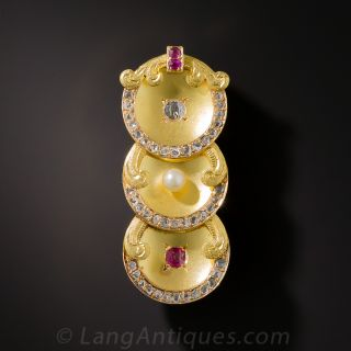 Small Art Nouveau Ruby, Pearl and Diamond Brooch