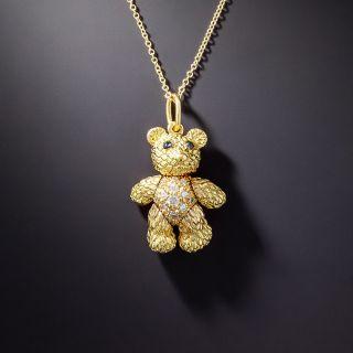 Small Articulating Diamond Teddy Bear Pendant - 1