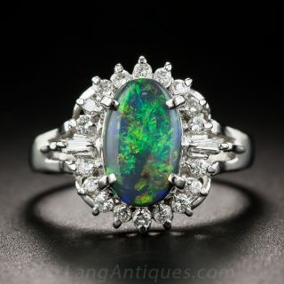 Small Black Opal Platinum Diamond Ring - 1
