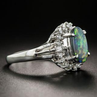 Small Black Opal Platinum Diamond Ring