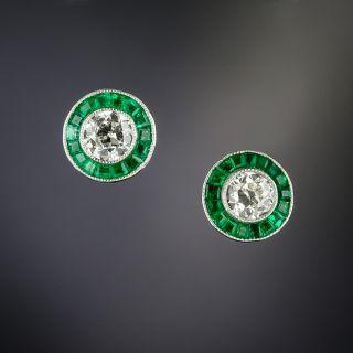 Small Diamond and Calibre Emerald Halo Earrings - 2