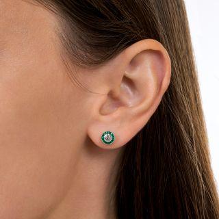 Small Diamond and Calibre Emerald Halo Earrings