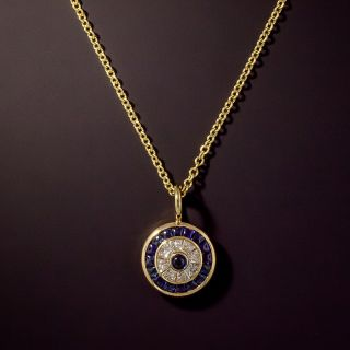 Small Diamond and Sapphire Target Style Pendant - 1