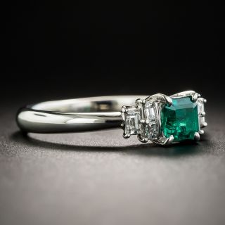 Small Emerald and  Baguette Diamond Platinum Ring