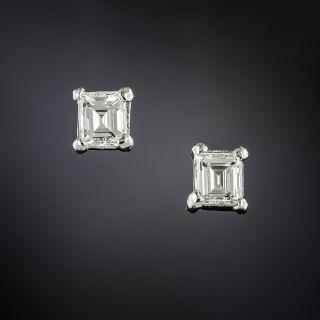 Small Estate Emerald-Cut Diamond Stud Earrings - 3