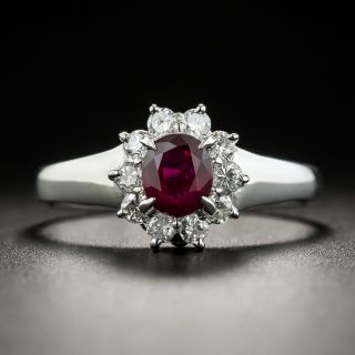 Small Estate Ruby and Diamond Cluster Ring - 2
