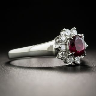 Small Estate Ruby and Diamond Cluster Ring
