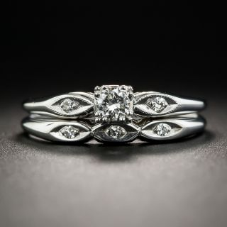 Small Mid-Century Diamond Wedding Set - 1