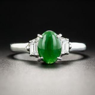 Small Natural Burma Jade Platinum and Diamond Ring