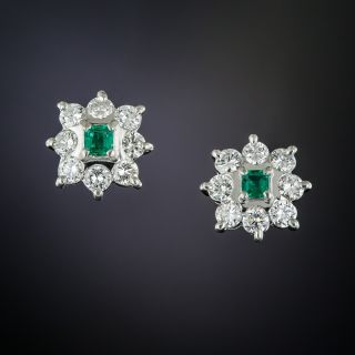 Small Platinum Emerald and Diamond Cluster Earrings - 1