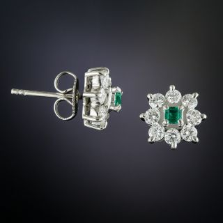 Small Platinum Emerald and Diamond Cluster Earrings