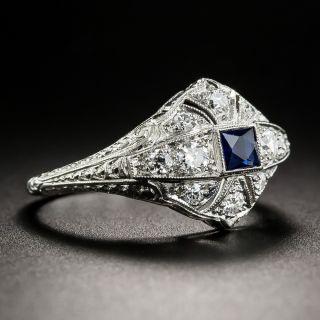 Small Scale Art Deco Sapphire Platinum and Diamond Ring