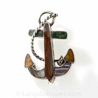 Small Scottish Agate Anchor Pin