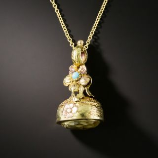 Small Victorian Citrine And Turquoise Fob Pendant - 2