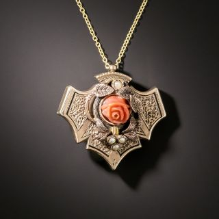 Small Victorian Coral Flower Pendant - 2