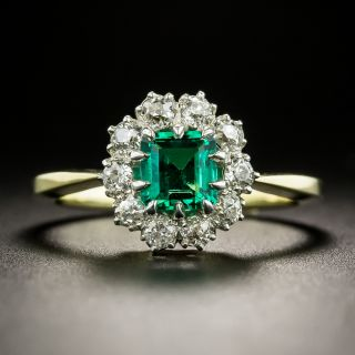 Small Vintage Gem Emerald with Diamond Halo Ring - 2