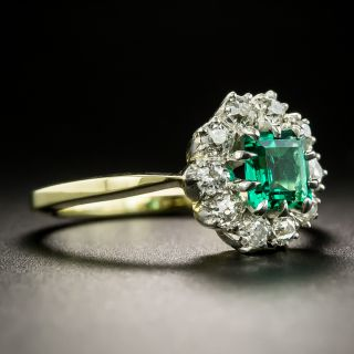 Small Vintage Gem Emerald with Diamond Halo Ring