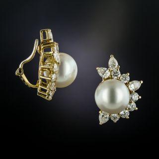 South Sea Pearl and Diamond Clip Earrings - 1