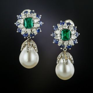 South Sea Pearl Drops with Emerald, Sapphire, and Diamond Tops - 3
