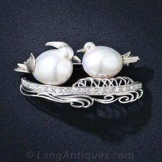 South Sea Pearl Love Bird Pin