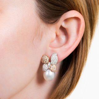 South Sea Pearl Pink and White Diamond Earrings