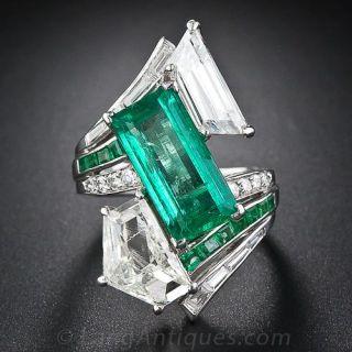 Spectacular Estate Emerald and Diamond Ring
