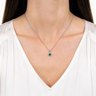 Square .63 Carat Emerald and Diamond Drop