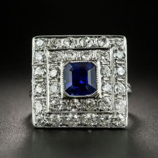 Square Art Deco Sapphire and Diamond Ring - 1