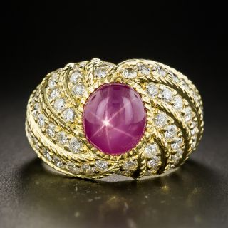 Star Ruby Pavé Diamond Ring - 1