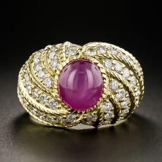 Star Ruby Pavé Diamond Ring