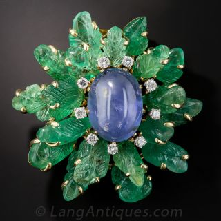 Star Sapphire and Carved Emerald Brooch - 1